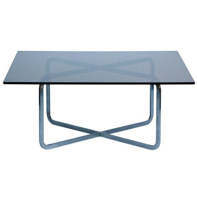 1970s Brushed Steel and Smoked Glass Coffee Table in the Style of Michel Boyer For Sale - Image 5 of 5