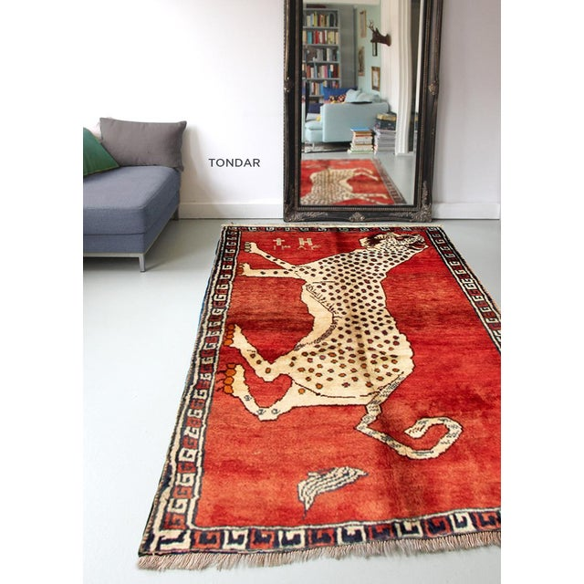 Red 1970s Tiger Motif Handmade Wool Rug-3′8″ × 4′ For Sale - Image 8 of 9