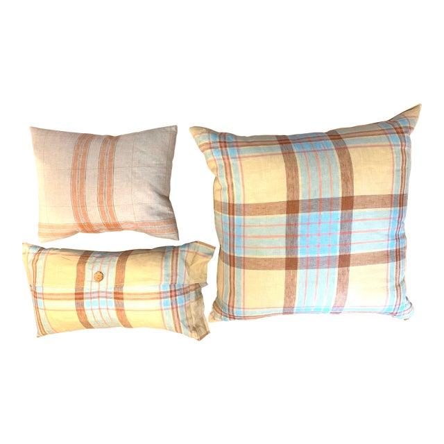 Linen Tea Towel Pillows- Set of 3 For Sale