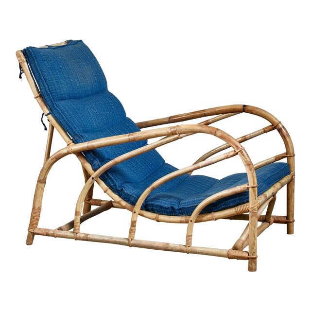 Bamboo and Rattan Lounge Chair, Sweden, 1930s For Sale