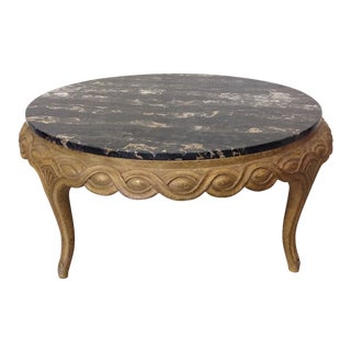 French Style Black Marble Top Coffee Table For Sale