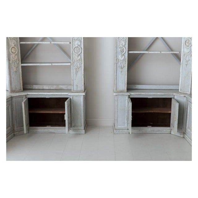 Pair of French Louis XV Style Corner Bookcases For Sale - Image 11 of 13