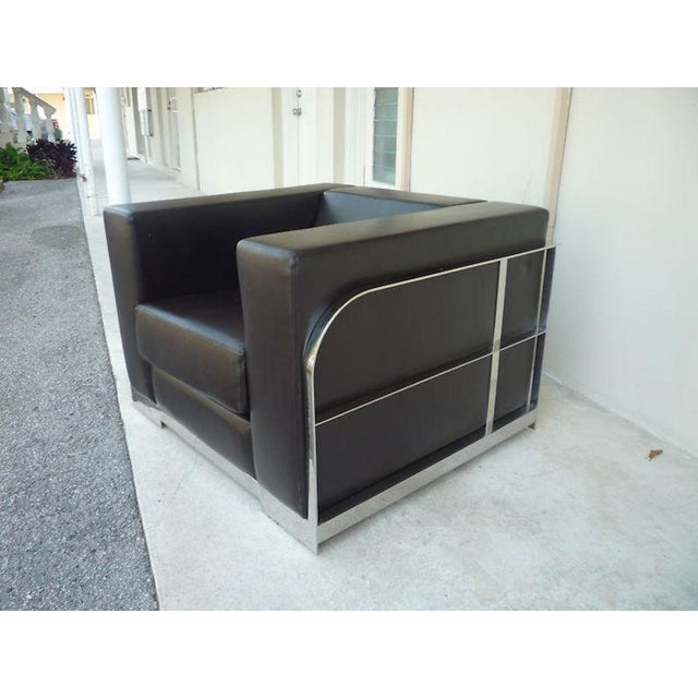 1990s Vintage Architectural Chrome & Leather Cube Chair For Sale - Image 4 of 9