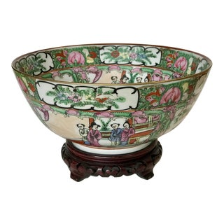 Vintage Famille Rose/Rose Medallion Porcelain Bowl on Rosewood Stand For Sale
