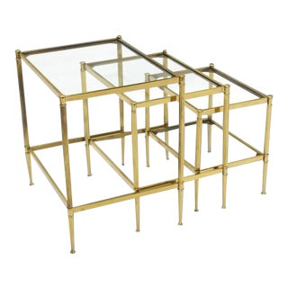 Mid-Century Modern Brass Nesting End Tables- Set of 3 For Sale