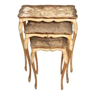 Neoclassical Gilt Florentine, Italian Nesting Tables For Sale