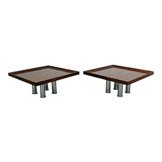 Pair of Mid-Century Modern Knoll Square Rosewood Chrome Coffee/End Tables For Sale