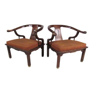 Pair of Chinoiserie Style Lounge Chairs by Century Chair Company For Sale