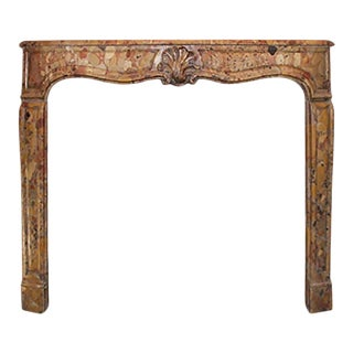 Late 18th Century Breche d'Alep Marble Louis XV Style Mantel For Sale