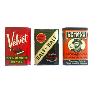 Vintage Mid Century Lithograph Print Flip Top Oval Tobacco Tin Metal Boxes - Set of 3 For Sale
