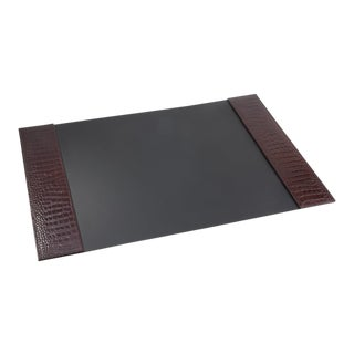 Desk Blotter, Embossed Croc Leather Book in Brown For Sale