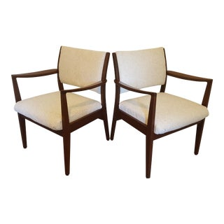 Vintage Johnson Chair Company Mid-Century Modern Walnut Armchairs - a Pair For Sale