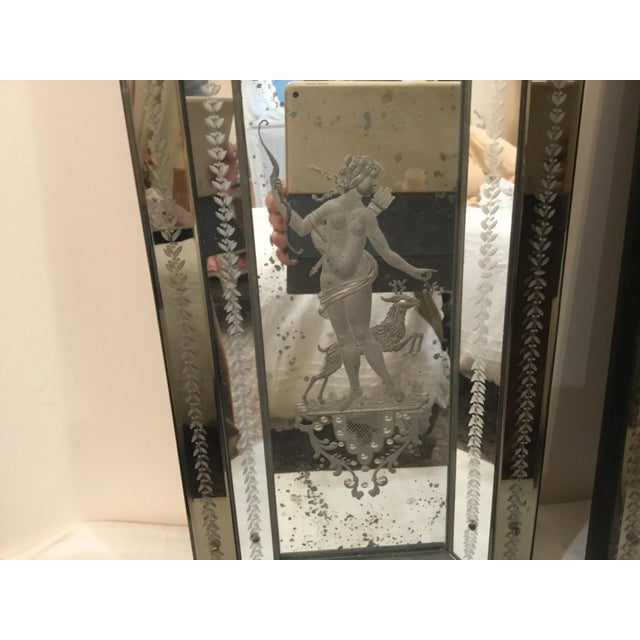 Traditional Pair of Antique Venetian Glass Etched Mirrors For Sale - Image 3 of 10