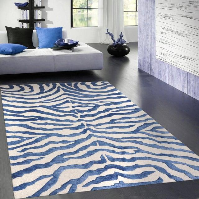Bamboo Silk & Wool Zebra Area Rug - 5' X 8' - Image 4 of 5