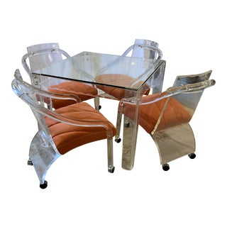 Mid Century Lucite Table and Chairs a Set For Sale