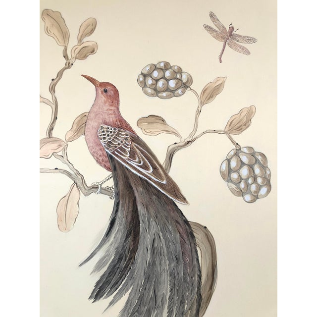 """Chinoiserie Style Bird Painting, """"Without Feather Ado"""" For Sale - Image 9 of 10"""