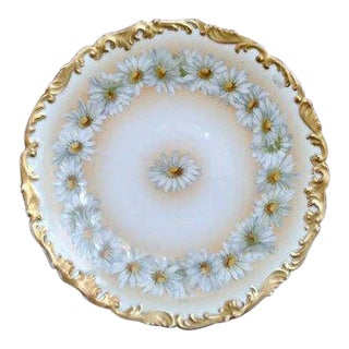 Antique Limoges Tressemann and Voight Daisey Chain Hand Painted Plate With Moriage Trim For Sale
