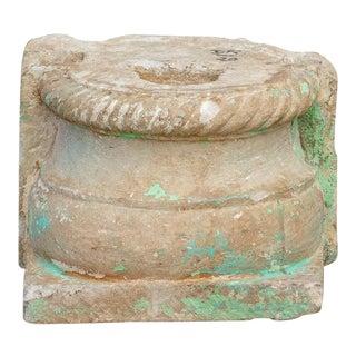 Antique Demilune Stone Pedestal Base For Sale