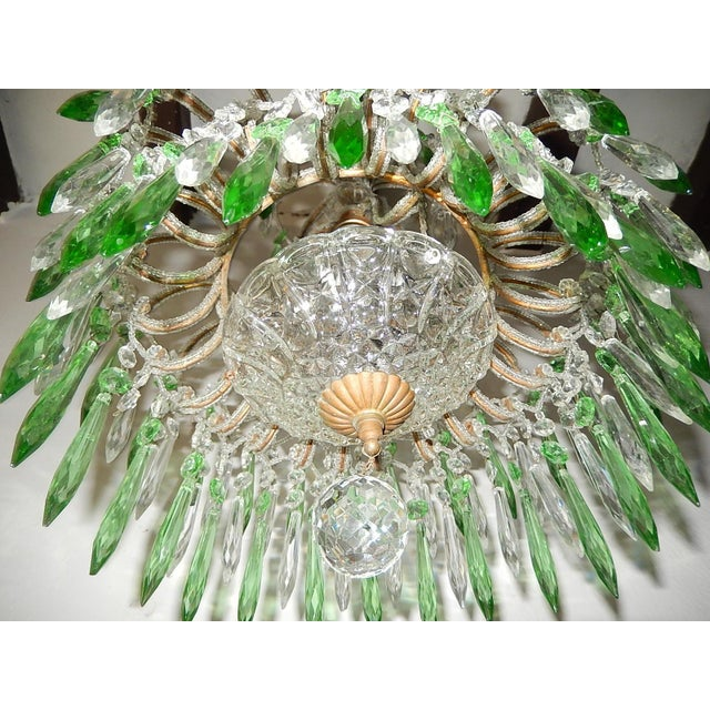 Green Italian Micro-Beaded Green Crystal Prisms Chandelier For Sale - Image 8 of 10