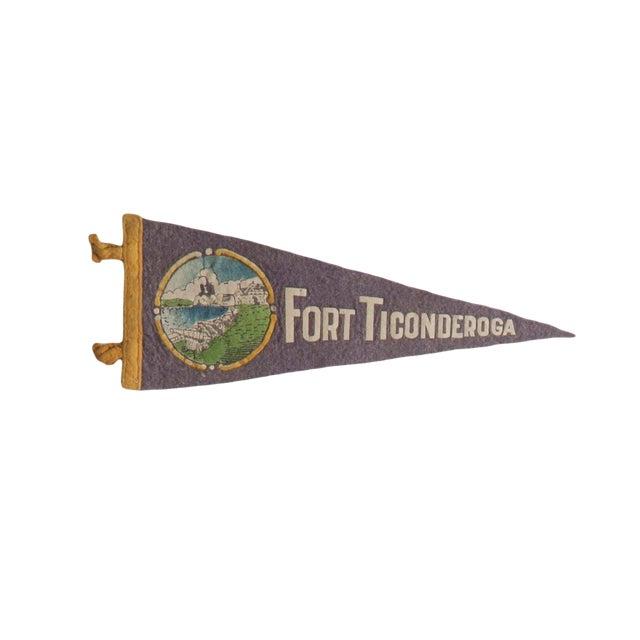 """Vintage """"Fort Ticonderoga"""" Felt Flag Pennant For Sale"""