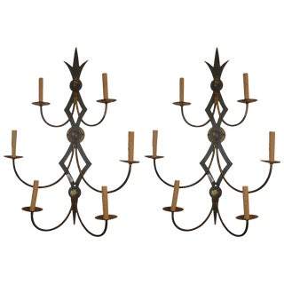 Mid-20th Century Pair of Iron Sconces For Sale