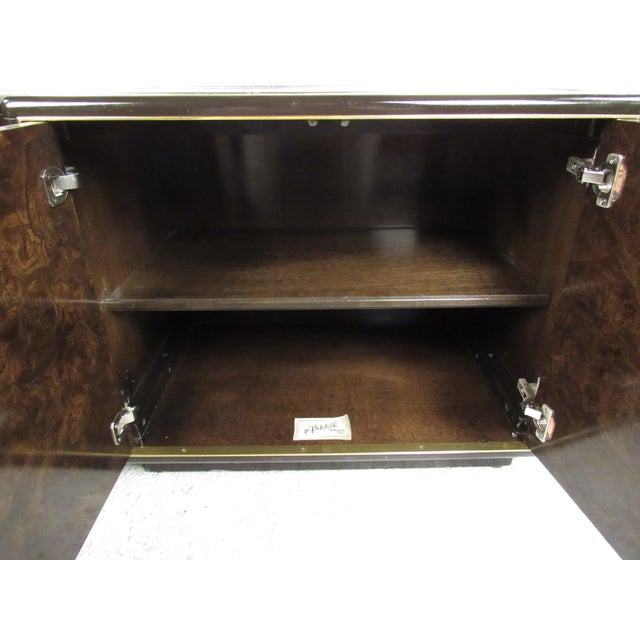 Mid-Century Modern Pair of Mid-Century Brass and Burl Nightstands by Bernhard Rohne For Sale - Image 3 of 13