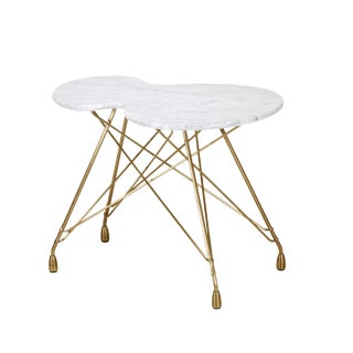 Etoile Calabasse Bronze Side Table With Carrara Marble Top For Sale