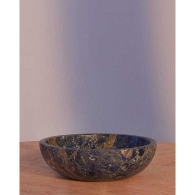 Contemporary Fruit Bowl in Blue Marble by Karen Chekerdjian, Made in Italy For Sale - Image 3 of 8