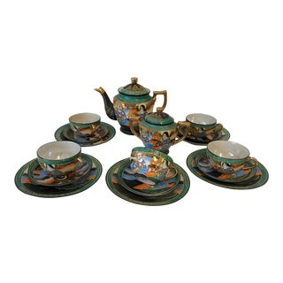 Vintage Japanese Satsuma Hand Painted 17 Pieces Tea Set For Sale