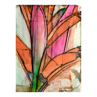 Original Mixed Media of Heliconia For Sale