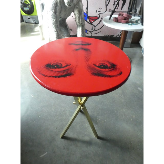 Fornasetti Vintage Fornasetti Red Julia Side Table For Sale - Image 4 of 8