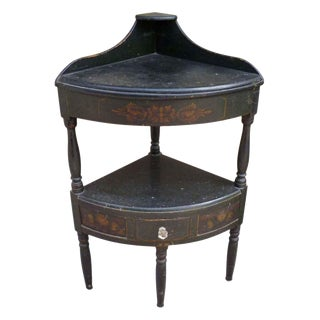 Hand Painted Black Wood Corner Table For Sale