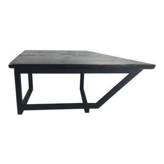 Iron & Wood Geometrical Coffee Table For Sale