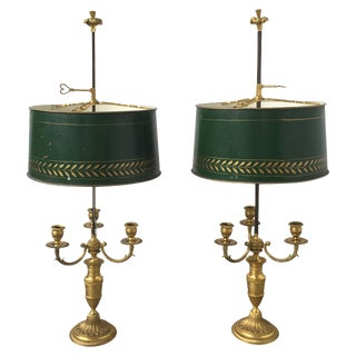 Gilt Bronze and Tôle Peinte Bouillotte Lamps - A Pair