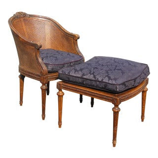 Vintage French Louis XVI Cane Blue Accent Chair & Ottoman ~ Chaise W Down Feather Cushions For Sale