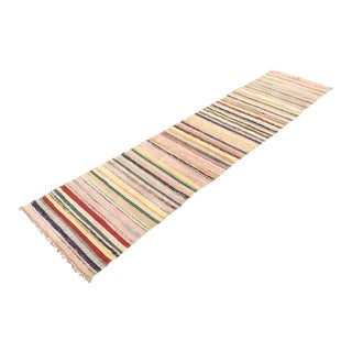 Vintage Turkish Striped Kilim Runner For Sale