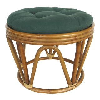 Mid-Century Modern Tropical Chic Rattan Stool/ Footstool For Sale