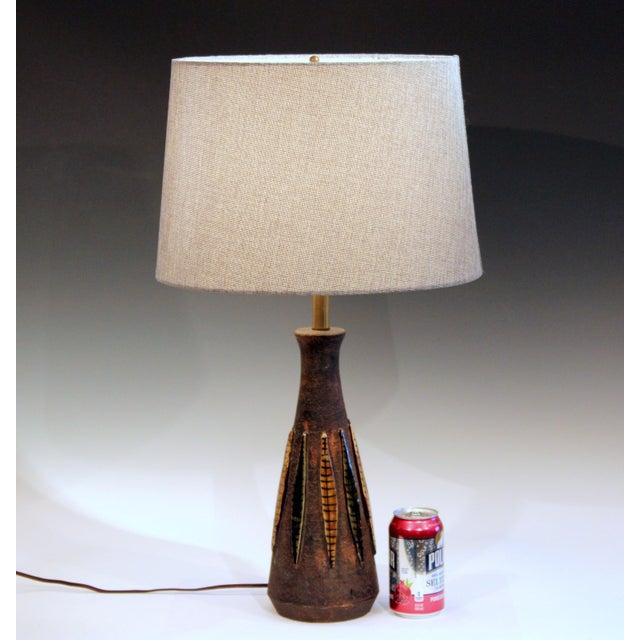 Brown Bitossi Pottery Londi Vase Italian Raymor Ceramic 1960s Lamp For Sale - Image 8 of 8