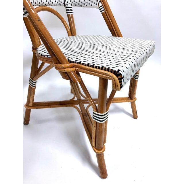 Wood Maillot French Bistro Woven Bamboo Rattan Chairs—Set of 5 For Sale - Image 7 of 13