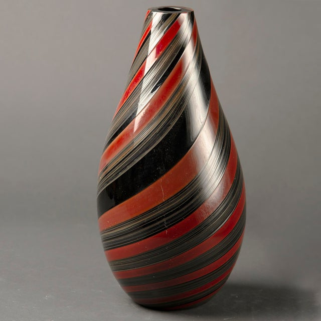 Modern Large Murano Glass Red and Black Striped Vase For Sale - Image 3 of 7