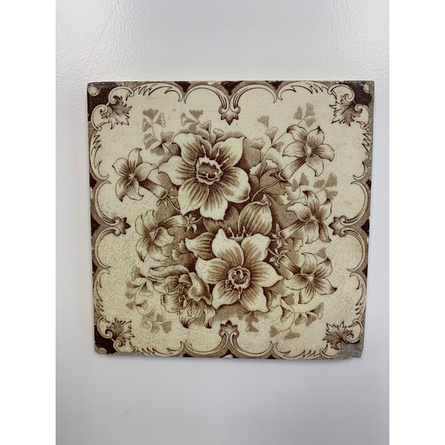 Antique French Floral Motif Tile For Sale In Wichita - Image 6 of 6