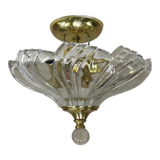Vintage Mariner S.A Cystal and Brass Ceiling Light With Glass Ball Finial For Sale