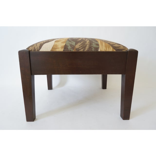 Mid-Century Footstool Low Bench Mahogany With Palm Frond Motif Upholstery For Sale - Image 4 of 12