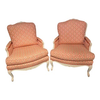 Louis XVI Painted Bergère or Lounge Chairs, Scalamandre Upholstery - a Pair For Sale