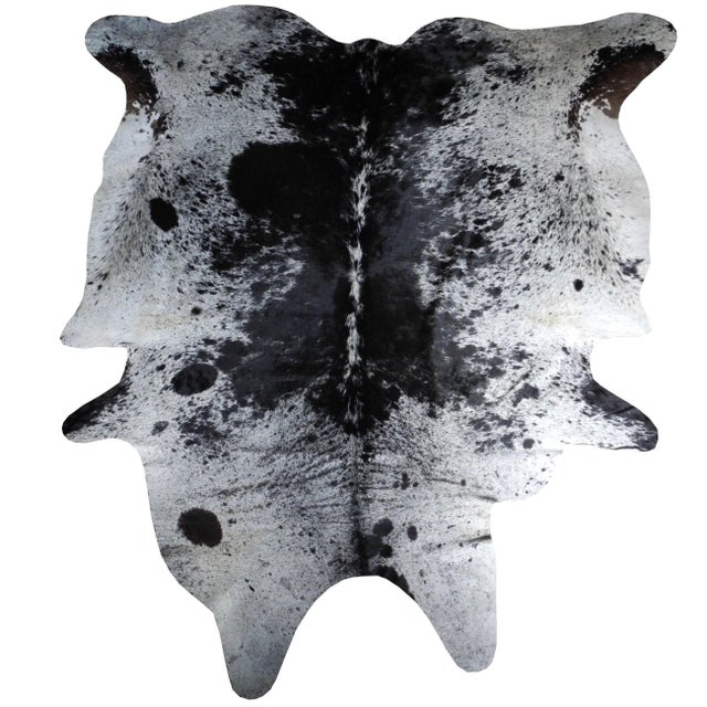 Salt and Pepper Leather Cowhide With Black and White Spots From Brazil For Sale In New York - Image 6 of 6