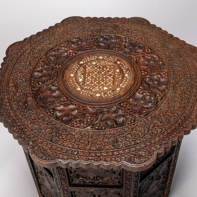Octagonal Delicately Carved Dark Wood Moorish Table - Image 4 of 9