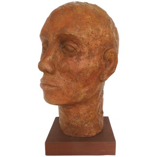 Terracotta Head Sculpture on a Wood Base For Sale