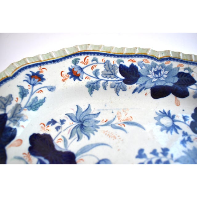 Mid 19th Century Mid Antique 19th Century Blue & White Transferware Ironstone Chinoiserie Platter For Sale - Image 5 of 9
