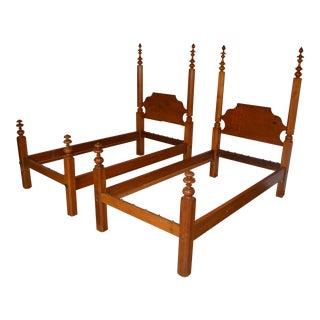 Antique Primitive Wood Twin Bed Frames - A Pair For Sale