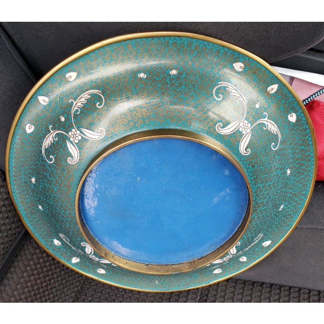 Circa 1880 Chinese Cloisonne Gilt Brass Shallow Bowl For Sale - Image 4 of 5